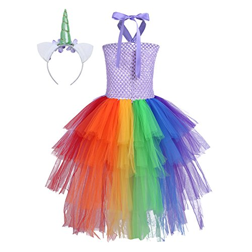 FEESHOW Kids Girls Unicorn Rainbow Tutu Dress with Headband Halloween Cosplay Costumes Party Outfit Fancy Dress up Clothes Lavender with hair loop (Loop Halloween Party)