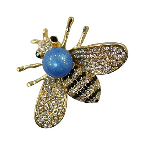 ZUOZUOYA Honey Bee Brooch for Women - Insect Themes with Gold Tone Brooch Pin - Fashion Mother of Blue Pearl Brooch Pins - Great for Wife,Sisters,Friends or Daily Wear]()