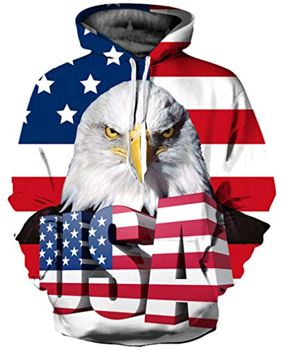 GLUDEAR Unisex 3D USA Flag Print Athletic Pullover Fashion Hoodie Hooded Sweatshirts,Eagle,S/M