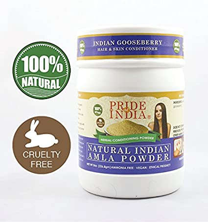Pride Of India - Herbal Hair & Skin Conditioning Powder, Half Pound, 100% Natural (Natural Brahmi Powder)