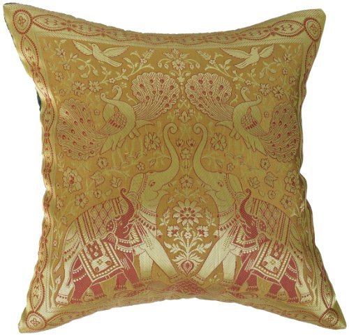 Artiwa Traditional Indian Elephants Embroidered Yellow & Gold Silk Throw Couch Bed Decorative Cushion Cover 16'x 16'