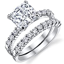 Metal Masters Co.® Fabulous Cushion Cut CZ Sterling Silver 925 Wedding Engagement Ring Band Set