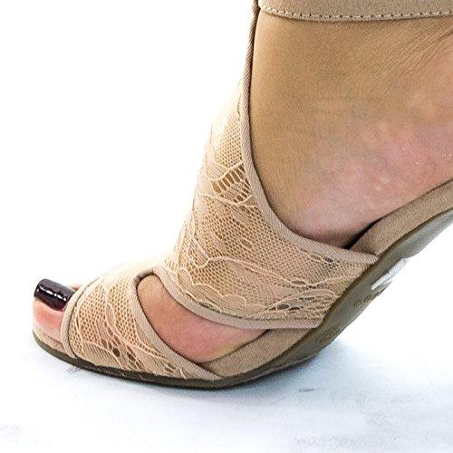 Blocket Klack Sandal W Broderas Web Mesh Spets Tyg Naken Spets