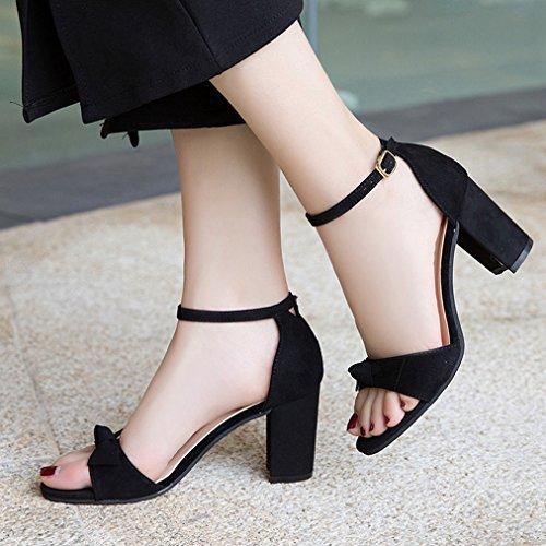 Ladies JULY T Heels Black Strap Comfy on Pumps Dress Womens Chunky Ankle Peep Sandal Toe Platform Bowknot Buckle Slip BwqdCxEq1