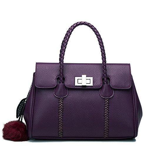 KYOKIM Bolsos De Cuero Suave Para Mujer Bolso De Hombro Informal Shopping Totes De Viaje Purple
