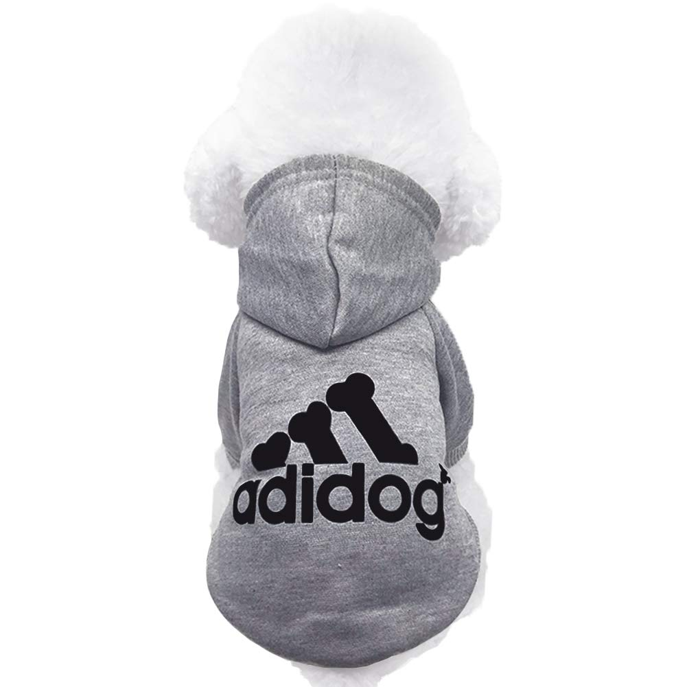 Moolecole Adidog Pet Dog Hooded Clothes Apparel Puppy Cat Warm Hoodies Coat Sweater for Small Dogs Red)