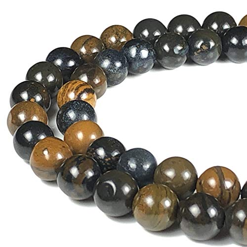 [ABCgems] Australian Blue Tiger Iron (Combination of Black Hematite, Blue Tiger's Eye & Red Jasper) 8mm Smooth Round Beads for Beading & Jewelry Making