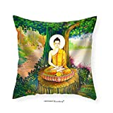 VROSELV Custom Cotton Linen Pillowcase Traditional Thai Style Painting Art on Temple WallThailand.Generality in Thailand - Fabric Home Decor 18''x18''