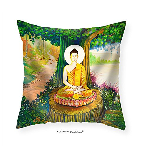 VROSELV Custom Cotton Linen Pillowcase Traditional Thai Style Painting Art on Temple WallThailand.Generality in Thailand - Fabric Home Decor 18''x18'' by VROSELV
