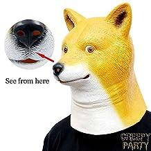 CreepyParty Deluxe Novelty Halloween Costume Party Latex Animal Head Mask Shiba
