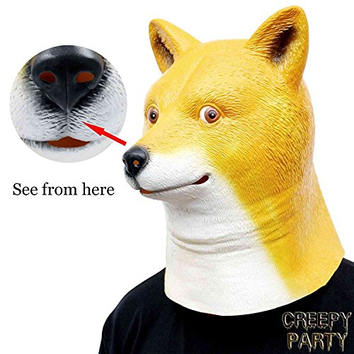 CreepyParty Novelty Halloween Costume Party Latex Dog Head Mask (shiba) -