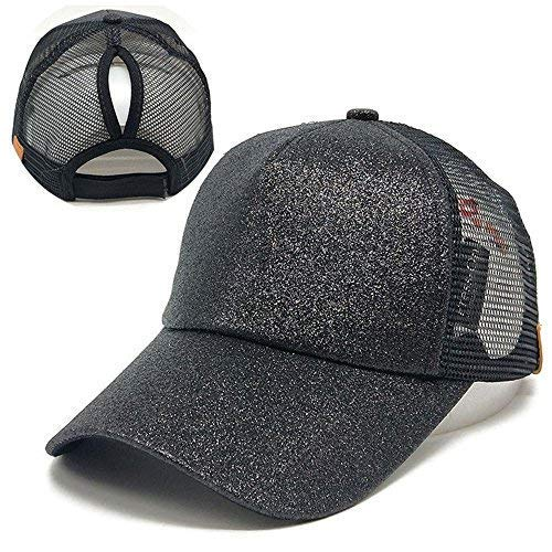 DOUMI Ponytail Baseball Cap, 2019 Women Sequins Shiny Messy Bun Snapback Hat Sun Caps (Black)]()