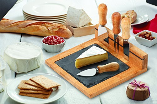 Chef's Basics Select HW1209 6-Piece Slate Cheese Board Set, Multicolor (Magnetic Cheese Board)