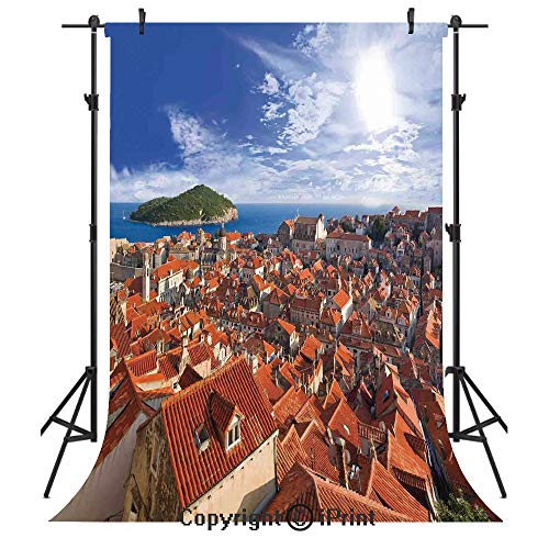 (Cityscape Photography Backdrops,Sunset of Dubrovnik City with The Island Mediterranean Culture Old Town Print Deco,Birthday Party Seamless Photo Studio Booth Background Banner 5x7ft,Multi)