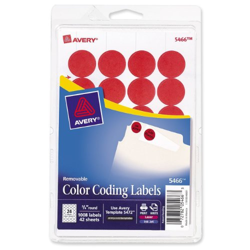 Avery Print/Write Self-Adhesive Removable Labels, 0.75 Inch Diameter, Red, 1008 per Pack  (Avery Dot)