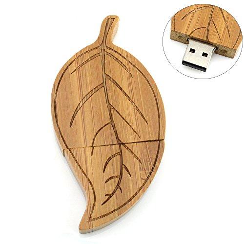 Wooden Guitar/Leaf/Cross Shaped USB Flash Drive Memory Storage (Dark Leaf 16GB)