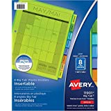 "Avery Big Tab Insertable Plastic Dividers, 8 tabs, for use with 8.5"" x 11"" Binders, Insertable Tabs, Multi-Colour, 1 Set (11901)"