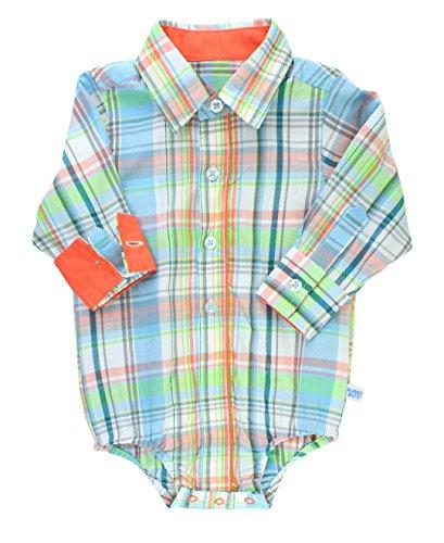 RuggedButts Infant/Toddler Boys Plaid Long Sleeve Button-Up Bodysuit - Samuel Plaid - 12-18m - Onesie Toddler Shirt