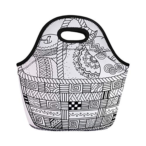 Semtomn Neoprene Lunch Tote Bag Colorful Coloring Book for Adult Thanksgiving Day Basket Reusable Cooler Bags Insulated Thermal Picnic Handbag for Travel,School,Outdoors,Work -