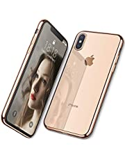 DTTO Case for iPhone Xs, [Lightening Series] Clear Stylish Flexible Case with Metal Luster Edge for Apple iPhone Xs(2018), Also Compatible with iPhone X(2017) 5.8 Inch