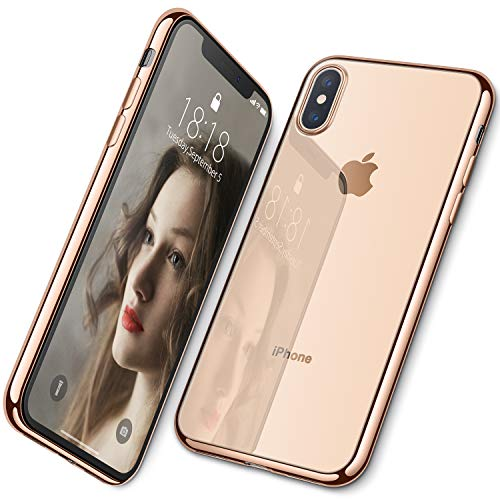 DTTO Case for iPhone Xs, Soft TPU Clear Stylish Cover Anti-Falling Case with Metal Luster Edge for Apple iPhone Xs(2018), Also Compatible with iPhone X(2017) 5.8 Inch- Gold