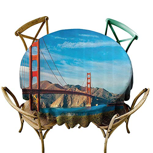 Tablecloth for Kids/Childrens Apartment Decor Collection Golden Gate San Francisco USA Clear Summer Sky Sunny Day Ocean Stones Touristic Place Image High-end Durable Creative Home 70 INCH Blue ()