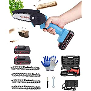 Mini Electric Chainsaw Cordless 4-Inch 24V Portable Handheld Battery Operated Chain Saw Mini Rechargeable Chainsaw with…