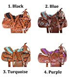"AceRugs 14"" 15"" 16"" 17"" 18″ Black Turquoise Purple Western Show Premium Leather Barrel Racing Trail Horse Saddle TACK Set"