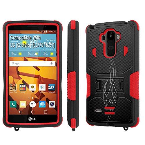 LG [G Stylo] Tough Case [SlickCandy] [Black/Red] Hybrid Combat [Kick Stand] [Shock Proof] Phone Case - [Tribal] for LG [G Stylo] [LS770 H631] -  SlickCandy for LG [G Stylo], P-LGLS770-1E1-BKRD-VRI-P048