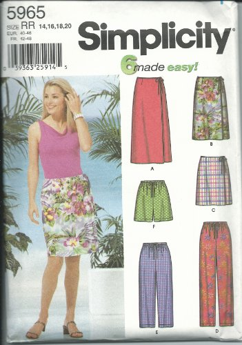 Simplicity Pattern 5965 Misses' Wrap Skirt and Pants Each in Three Lengths, Size RR (14-16-18-20)