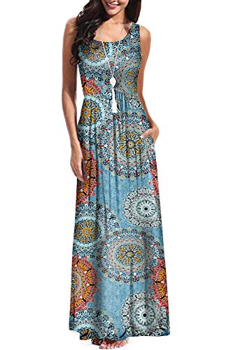 BBX Lephsnt Boho Womens Dresses Retro Floral Print Sleeveless Party Cocktail Dress Summer Maxi Dress