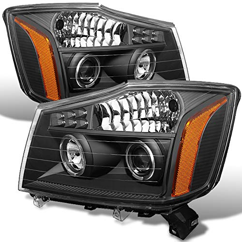 For Nissan Titan Armada Black Bezel Dual Halo Ring DRL Daylight LED Projector Headlights Replacement (Nissan 2011 Halo)