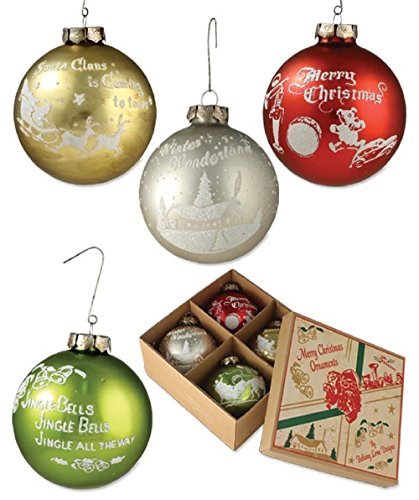 Bethany Lowe Traditional Silhouette Ornaments LG3448 Set of 4 Round Glass Ornaments