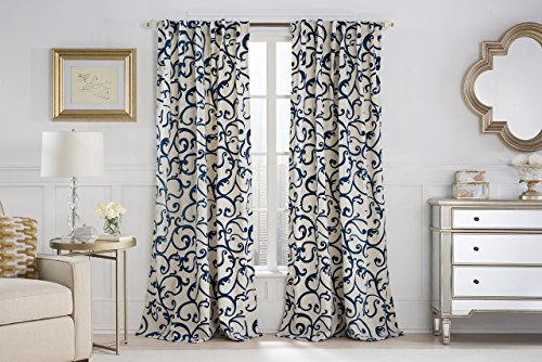 Single (1) Faux Linen Back Tab Window Curtain Panel: Scroll Design, Wide Size 54
