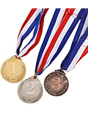STOBOK Metal Award Medals Neck Ribbon Gold Silver Bronze Olympic Style Sports academics Any Competition Diameter-5.1cm Small Wheat Pattern 3pcs(Gold*1 + Silver*1 + Bronze*1)