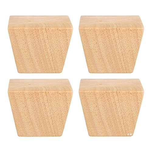 Unfinished Square Tapered Wooden Sofa Legs, Set of 4 - 2 3/4 inches Tall