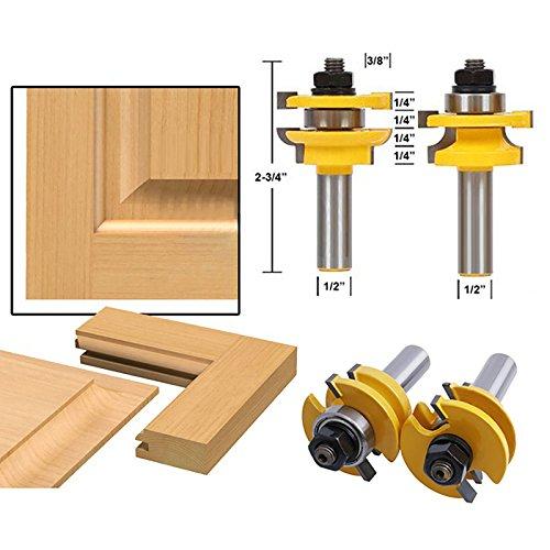 Slotting Chisel (AccOED 2Pcs 1/2'' Shank Rail & Stile Router Bits Shaker Woodworking Chisel Cutter Tool)