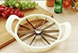 Extra Large Watermelon Slicer with Comfort Silicone Handle,Home Stainless Steel Fruit Slicer Cutter Peeler Corer Server for Cantaloup Melon,Pineapple,Honeydew (White)