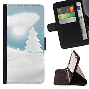 DEVIL CASE - FOR LG G2 D800 - Winter Snowy Christmas Forrest - Style PU Leather Case Wallet Flip Stand Flap Closure Cover