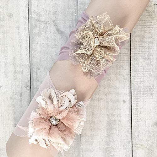 Flower Baby Headbands Handmade By Yasmine | Set of 2 Unique Headpieces with fabric flowers and Rhinestones