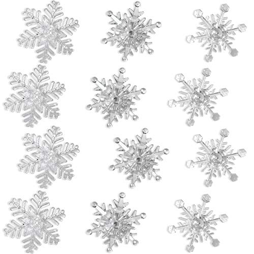 Snowflake Color Changing Led Lights Set of 12 Snowflakes with Suction Cups Attached to Back for Hanging in a Window Acrylic - 4 Inch- Snowflake Decorations- Night Light Window Clings- Seasonal Window -