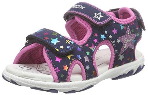 Geox B SANDAL CUORE A - Zapatos primeros pasos de material sintético para niña Azul - Blau (NAVY/MULTICOLORC4243)