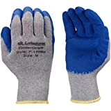 Lakeland SpiderGrip 7-1506 Dipped Latex Coated Palm, Slip Resistant, Knit Work Glove, Grip, Medium, Grey/Blue (12 Pair)