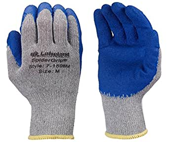 Lakeland SpiderGrip 7-1506 Dipped Latex Coated Palm, Slip Resistant, Knit Work Glove, Grip, Small, Grey/Blue (12 Pair)
