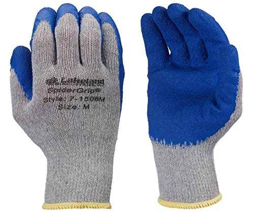 Lakeland SpiderGrip 7-1506 Dipped Latex Coated Palm, Slip Resistant, Knit Work Glove, Grip, Large, Grey/Blue (12 -