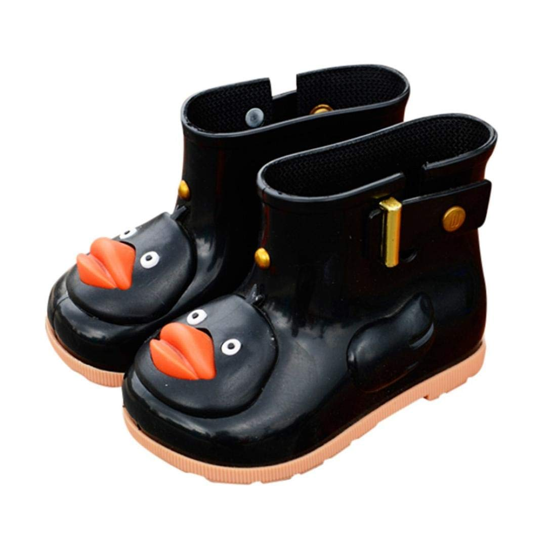 Clearance Toddler Kids Baby Anti-Slip Rain Shoes Durable Rubber Waterproof Boots Cartoon Duck Water Shoes (Black, US:8.5(Age:4-5T))