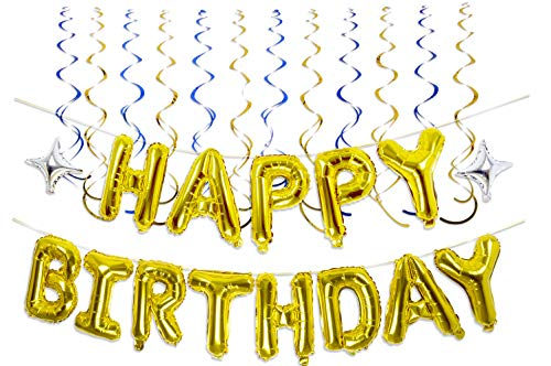 Happy Birthday Balloons, GoldenSunny Foil Balloon Letters Mylar Balloons and Hanging Swirls For Birthday Party Decorations and Supplies, ()