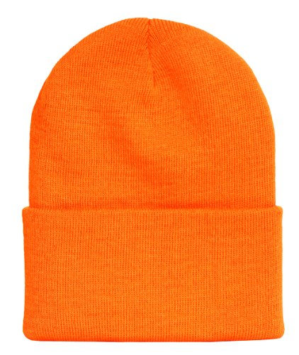 Solid Winter Long Beanie (Comes In Many Different Colors) - Safety Orange (Solid Long Beanie Winter)