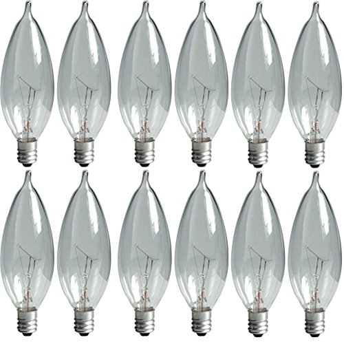 - GE Lighting Crystal Clear 76239 60-Watt, 650-Lumen Bent Tip Light Bulb with Candelabra Base, 16-Pack