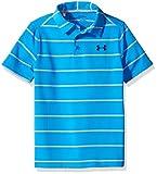 Under Armour Boys' Playoff Stripe Polo Shirt, Mako Blue/True Gray Heather, Youth Medium